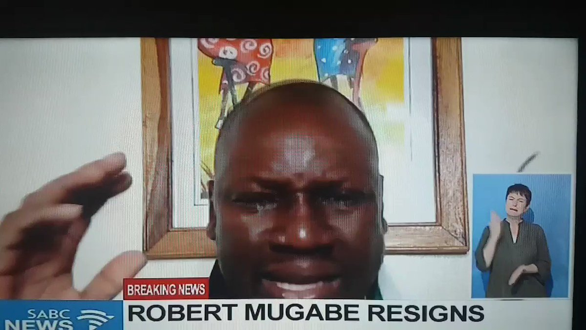 #ThisFlag 🇿🇼 Founder Pastor Evan Mawarire in tears.  You cant hear what he is saying but his tears tell a THOUSAND stories.  #Mugabe Resigns #Zimbabwe  #SABCNews