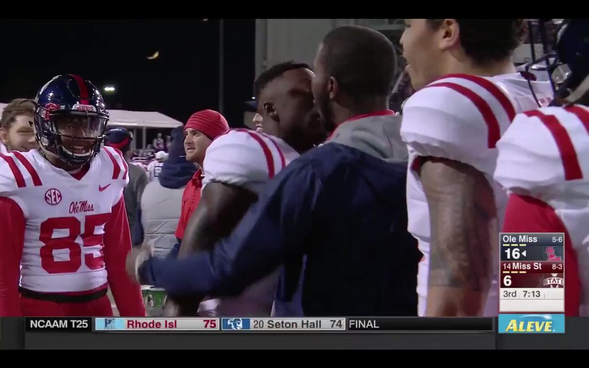 "A.J. Brown, Starkville native, after his second touchdown catch. ""My city! My city!"" https://t.co/NWDyhzPc6A"