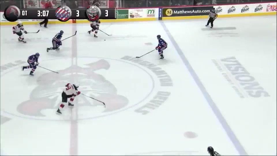 And the @AmerksHockey take the OT win th...