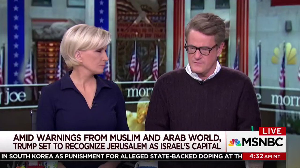 "MSNBC's Scarborough criticizes President Donald Trump's decision to move the U.S. embassy to Jerusalem.  October 24, 1995: Rep. Joe Scarborough (R-FL) voted in favor of ""Jerusalem Embassy Act of 1995"", which was passed to move the U.S. embassy to Jerusalem.  What changed @JoeNBC?"