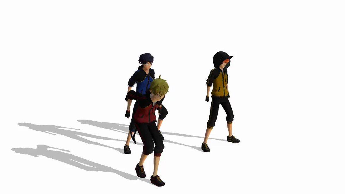 この3人に色違いジャージで踊ってもらいたかっただけなんですよ。  お借りしたものはリプ欄に。