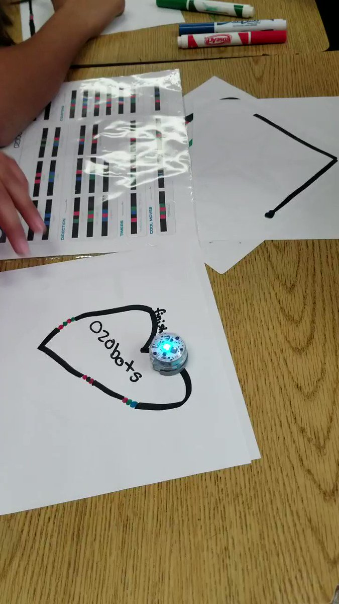 #HourOfCode2017 in Ms. Hegdahl's class. 6th grade coder - ozobot following the outline of a heart, so wonderful! #LoaraLeopards