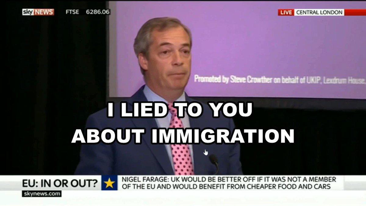 Image for the Tweet beginning: Nigel Farage on EU immigration: 🔺Pre-Referendum: