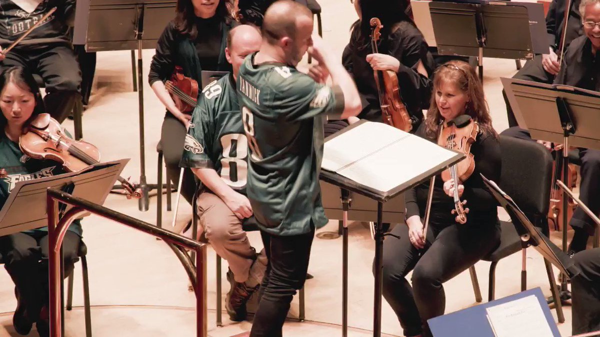 Congrats to the NFC East Champs, @Eagles! Sing along to the fight song with @philorch, led by our QB @nezetseguin. GO BIRDS! And get better soon, Carson! #FlyEaglesFly