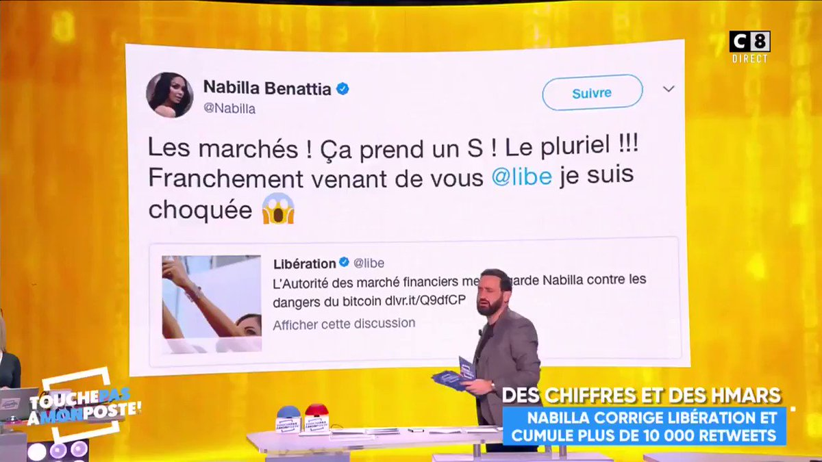 RT @TPMP: La réaction de @Nabilla en voyant la faute d'orthographe de @libe 😂😂#TPMP https://t.co/g4ByvTwKqN