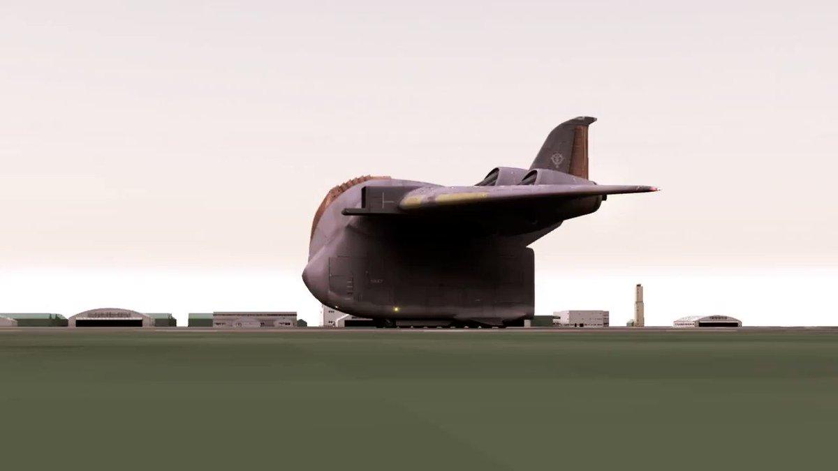 ガウ攻撃空母 離陸テスト 日時:2018年1月13日・午前8時20分 場所:ジオン公国軍地球方面軍 ギュンツブルク地区・ラウプハイム空軍基地 (音量注意)  #Shade3D #ガウ #3DCG #ガンダム