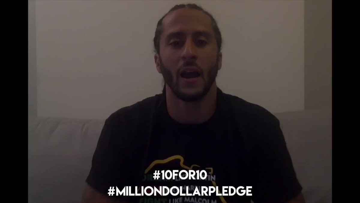 RT @nessnitty: YEEEESSSSSS 🙌🏽 Final $100,000 until @Kaepernick7 completes his Million Dollar Pledge #10for10 ❤️ https://t.co/MmeYr1kC90