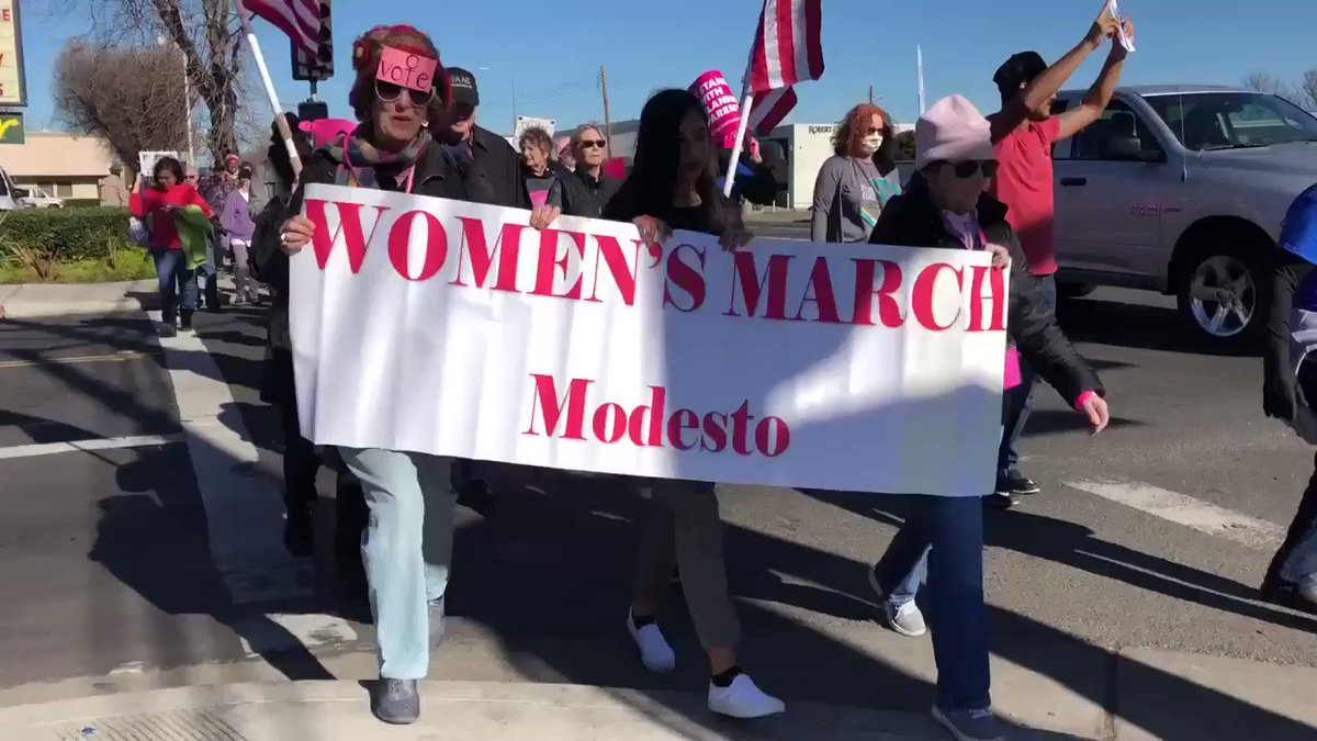 In Modesto with crowd eclipsing last year's 1,000 ... #WomensMarch2018