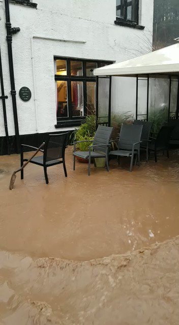 Landslide and flooding at Muddiford, North Devon this morning. Thanks to the pub landlord for this video. More on Spotlight tonight at 6:20pm