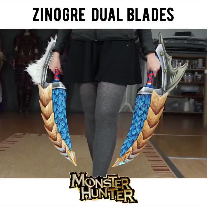 How I made my @monsterhunter Zinogre Dual Blades! Who is playing World with me?? 🤩🦖💥🗡 @CAPCOM_Germany @Steffi_Peach