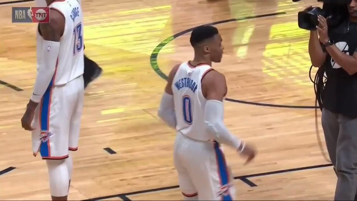 A fan got in Russell Westbrook's face on the court after the Thunder loss.