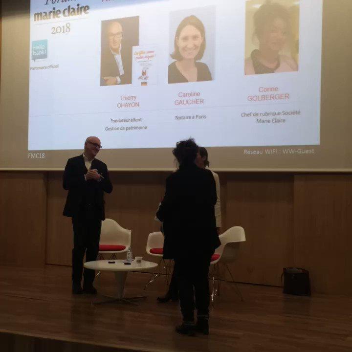 """On enchaine avec les ateliers. Pour l'atelier 2, """"se constituer un patrimoine"""" avec Thierry Ohayon de @ExentPatrimoine et Caroline Gaucher, notaire cc @c_goldberger #FMC18 @marieclaire_fr"""