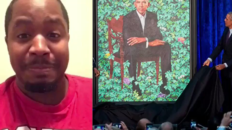 """I will be sharing my throwback videos while I'm recovering. """" I don't care if you like Obama or not I couldn't hold back after looking at this painting ‼️"""" #terrencethrowbackvid"""