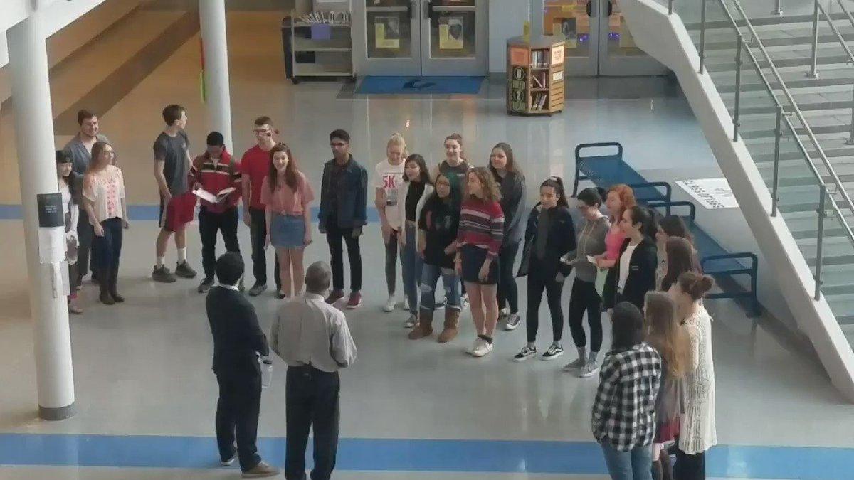 YHS A.P. Bill Lomax and Social Studies teacher Ryan Zito get serenaded for by the YHS Choir. <a target='_blank' href='http://twitter.com/YorktownHS'>@YorktownHS</a> <a target='_blank' href='http://twitter.com/Principal_YHS'>@Principal_YHS</a> <a target='_blank' href='http://twitter.com/APSVirginia'>@APSVirginia</a> <a target='_blank' href='http://twitter.com/YorktownSentry'>@YorktownSentry</a> <a target='_blank' href='http://twitter.com/YHSDailies'>@YHSDailies</a> <a target='_blank' href='http://twitter.com/yorktownbands'>@yorktownbands</a> <a target='_blank' href='https://t.co/8qBIX24XiZ'>https://t.co/8qBIX24XiZ</a>
