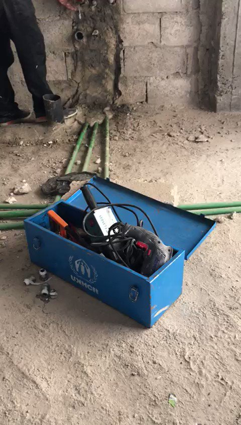 """""""I'm now back on my feet and I can support my family and provide for my mother's expensive cancer medication!"""" Mohamad, a plumber.   Through @UNHCRinSYRIA #livelihood program, Mohamad, received a plumbing kit & now able to continue his work after 6yrs of displacement. #Syria"""