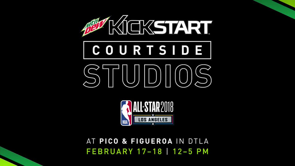 I'll be at @mountaindew's Courtside Studios this weekend! Come through to the corner of Pico and Figueroa today to catch all the action! #DEWxNBA #NBAAllStar #MTNDEWKickstart