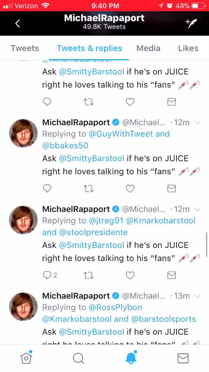 "You guys think @MichaelRapaport wants people to ""ask @SmittyBarstool if he's on juice?"""