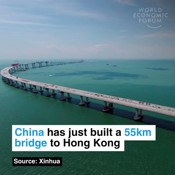 China just built a 55 kilometer bridge to Hong Kong - the longest sea bridge in the world, made from the same amount of steel as 60 Eiffel Towers. 🇨🇳 🇭🇰