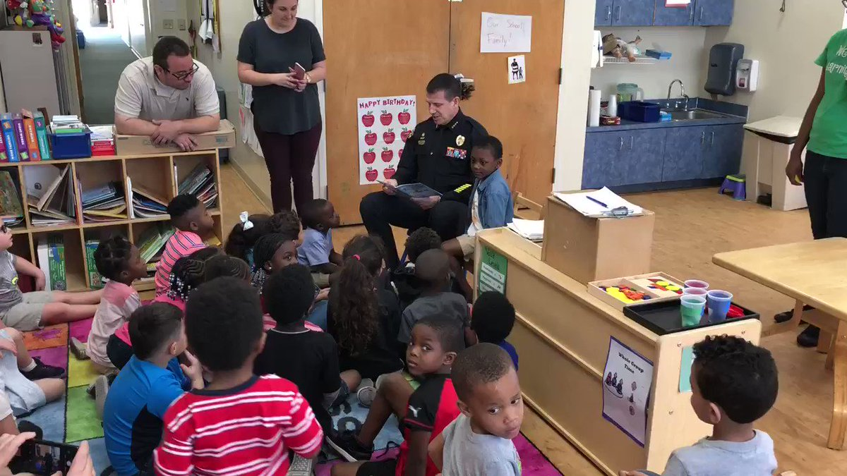 The kids at Orlando Day Nursery can't hold their excitement to hear @ChiefJohnMina read them a story!