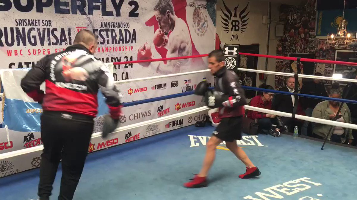 Juan Carlos Reveco is in the ring at todays media workouts looks ready to rock this weekend at #Superfly2. #NietesReveco