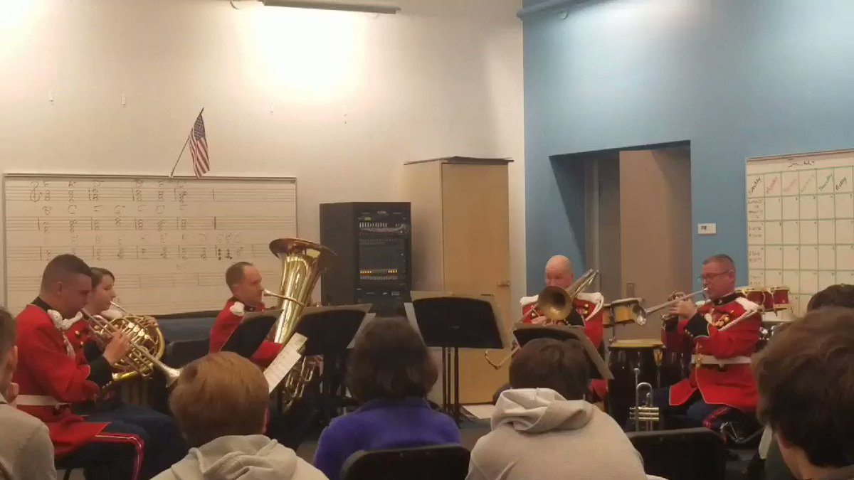 The Presidents own Marine Corps Band Brass Quintet perform for Yorktown as part of the Music in the High Schools Program <a target='_blank' href='http://twitter.com/YorktownHS'>@YorktownHS</a> <a target='_blank' href='http://twitter.com/Principal_YHS'>@Principal_YHS</a> <a target='_blank' href='http://twitter.com/APSVirginia'>@APSVirginia</a> <a target='_blank' href='https://t.co/Mr3wUXAaxn'>https://t.co/Mr3wUXAaxn</a>