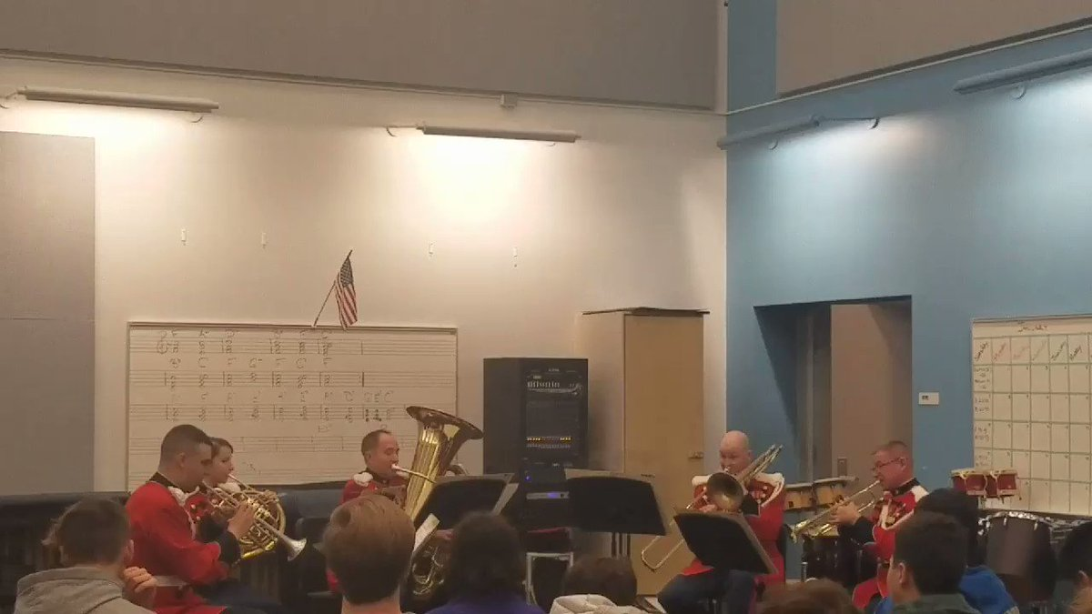 Presidents own Marine Corps Band Brass Quintet perform for Yorktown as part of the Music in the High Schools Program  <a target='_blank' href='http://twitter.com/YorktownHS'>@YorktownHS</a> <a target='_blank' href='http://twitter.com/Principal_YHS'>@Principal_YHS</a> <a target='_blank' href='http://twitter.com/APSVirginia'>@APSVirginia</a> <a target='_blank' href='http://twitter.com/yorktownbands'>@yorktownbands</a> <a target='_blank' href='https://t.co/ABieqIqFHZ'>https://t.co/ABieqIqFHZ</a>