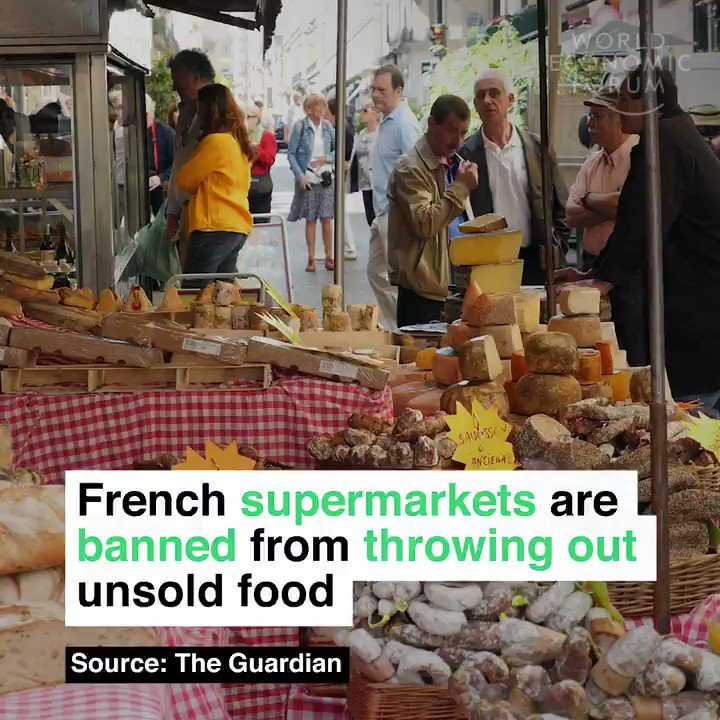 French supermarkets are now banned from throwing out unsold food. Edible food has to be donated to charity. Retweet if you think we should do the same.
