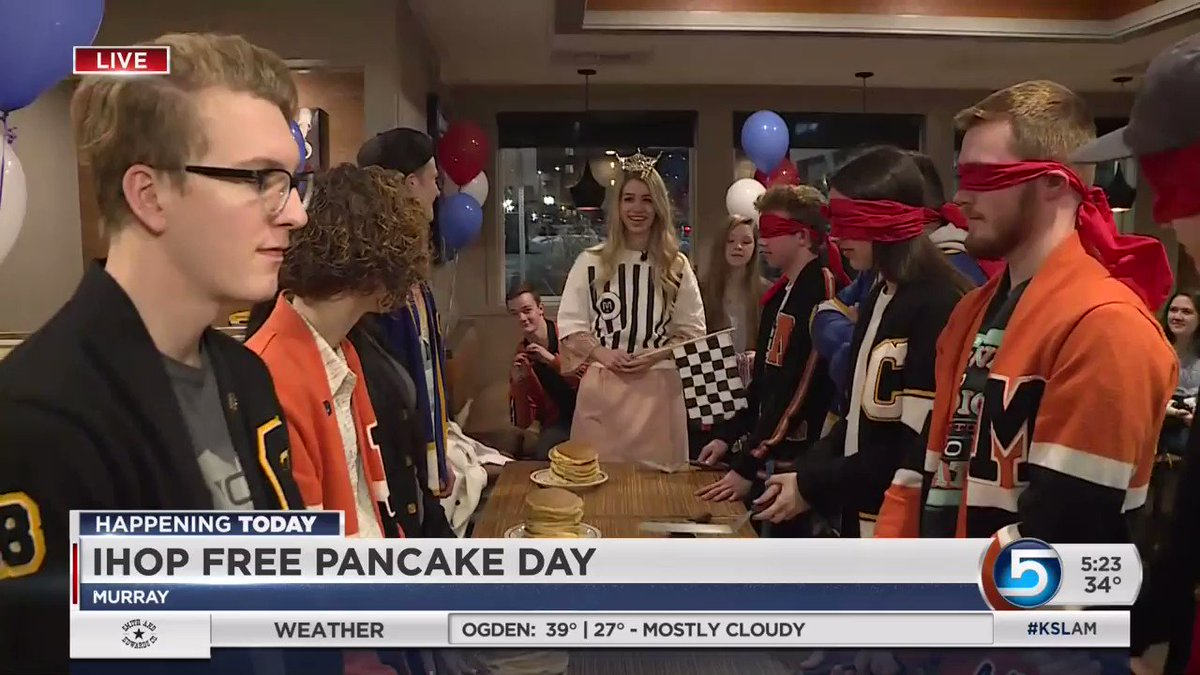 VIDEO: Move over Olympics... @caseyscotttv brings us the pancake toss with high school students from @CottonwoodHS @TaylorsvilleHS and Murray High. #pancakeday2018 @IHOP @KSL5TV #KSLAM @LoriPrichard @KSLweyman
