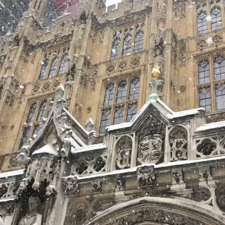 The Palace of Westminster looking stunning in the snow this lunchtime.
