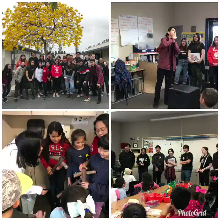 Ss from Loara High School Theatre Club came out today and performed skits for our 1st and 2nd graders in celebration of #ReadAcrossAmerica2018 Thanks for the fun! #palmlane #palmlaneproud #K-12partnership @AnaheimUHSD