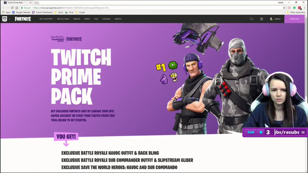 fortnite skin twitch prime