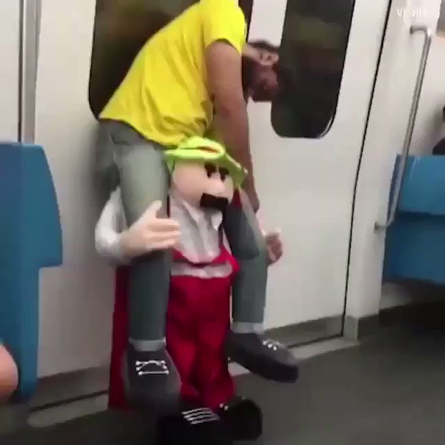 This guy is so drunk his costume looks like it's carrying him.