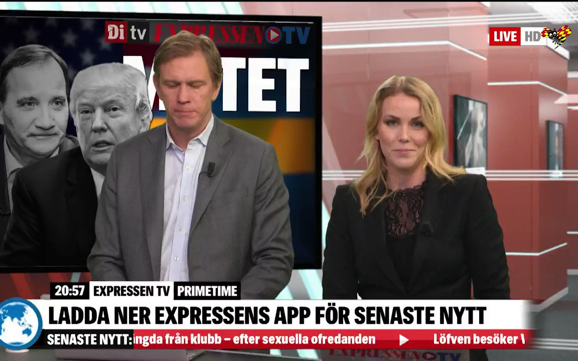 Donald Trump möter Stefan Löfven i Vita huset. Följ mötet med Expressen TV och DiTV. https://www.expressen.se/tv/nyheter/live/live-tv-senaste-nyheterna-med-expressen-tv/…