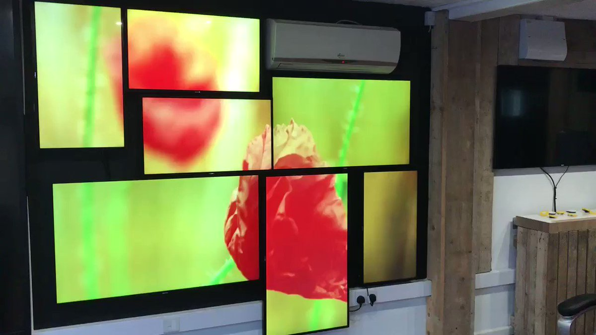 "The latest addition to our showroom is a 7 screen mosaic video wall using @PhilipsDisplays 32"", 43"" & 49"" D-Line range. For more information contact our offices on 01952 872360 #DOOH #Digital #Showroom"