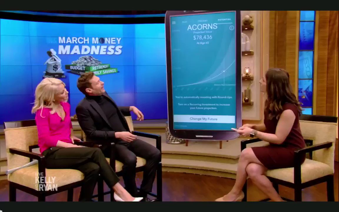 """""""Acorns is all about about investing for your future"""" -@FARNOOSH   From the March Money Madness segment on the @LiveKellyRyan show this morning. #GrowYourOak @RyanSeacrest @KellyRipa"""