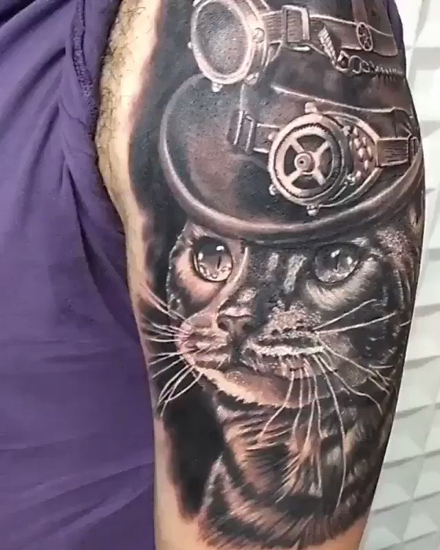 #Tattoo Awesome of the Day: #Steampunk Hatted Cat Arm Piece by Sasha Nezya #Kraków, #Poland via @Steampunk_T #SamaTattoo