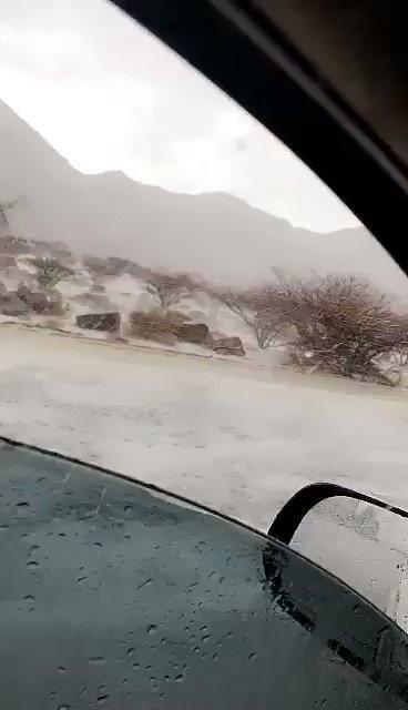 تساقط البرد غرب وادي بن هشبل في السعودية...