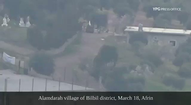 #YPG-led #SDF fighters carry out effective action against invading Turkish soldiers and allied gangs in Alemdara village of #Afrin's Bilbil district, March 18.