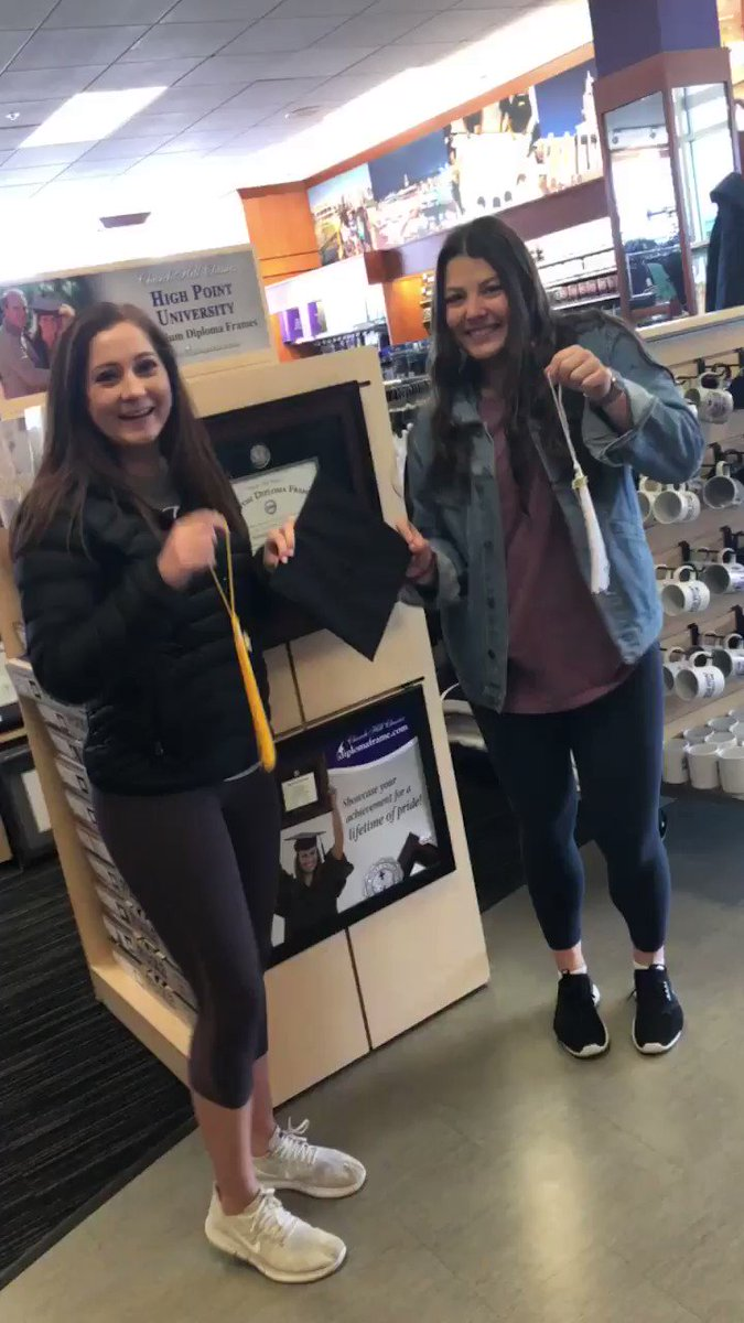 With just 47 Days left until #hpugrad2018  😳 we now have your caps & gowns to pick up!!! Both Ashley Gaines & Victoria Morgan are pumped to get their official commencement gear. 💜🎓