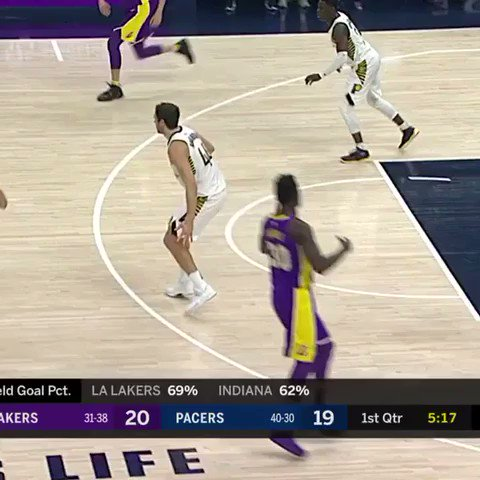 Lonzo touches it over for the Randle slam!  That's 6️⃣ 1st quarter assists for the @Lakers point guard!  #LakeShow https://t.co/74beWSDWMh
