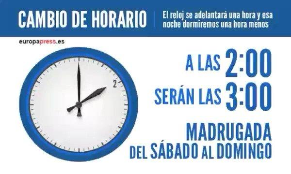 #CambioDeHora Este sábado, a las 2 serán...