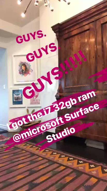 GUYS!! I got the i7 32gb ram @Microsoft Surface Studio! https://t.co/urzSjwXPI4