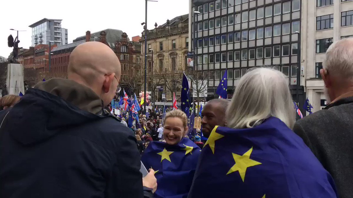Huge turn out at an anti-brexit rally in Leeds today. @BBCLookNorth https://t.co/rU93bPESEH