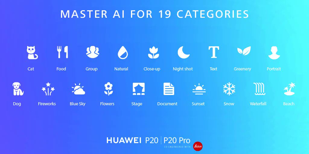 Huawei P20 系列的AI能辨识多达19种场景