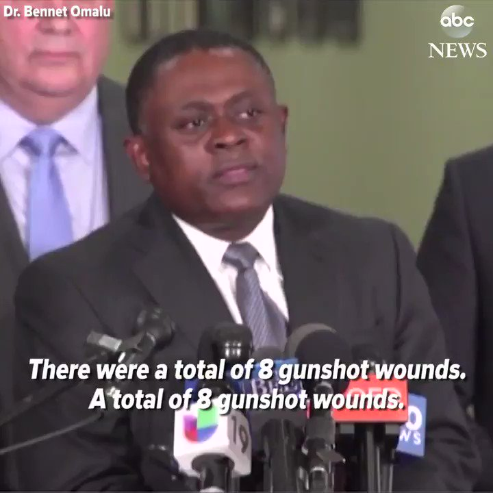 "Dr. Bennet Omalu, pioneer in CTE research, delivers the results of his private autopsy of Stephon Clark.  ""There were a total of 8 gunshot wounds…he received 7 gunshot wounds from his back."" https://abcn.ws/2pSFBA4"
