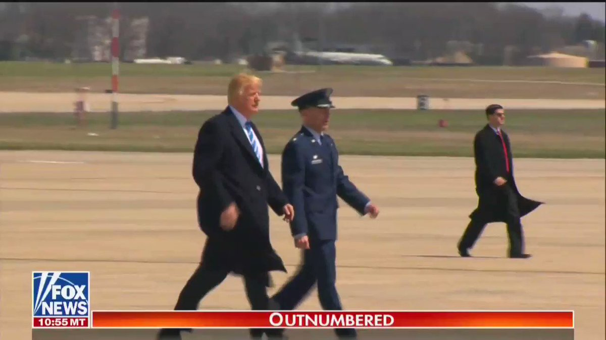 Trump boarded Air Force One in high winds — and the photos of his hair are mesmerizing