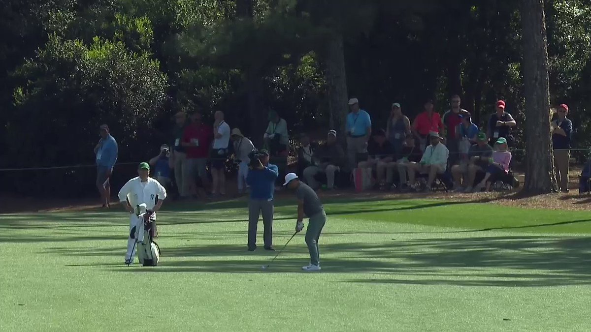 .@DougGhim holes out from 179 yards on No. 18 for his second eagle of the day. #themasters