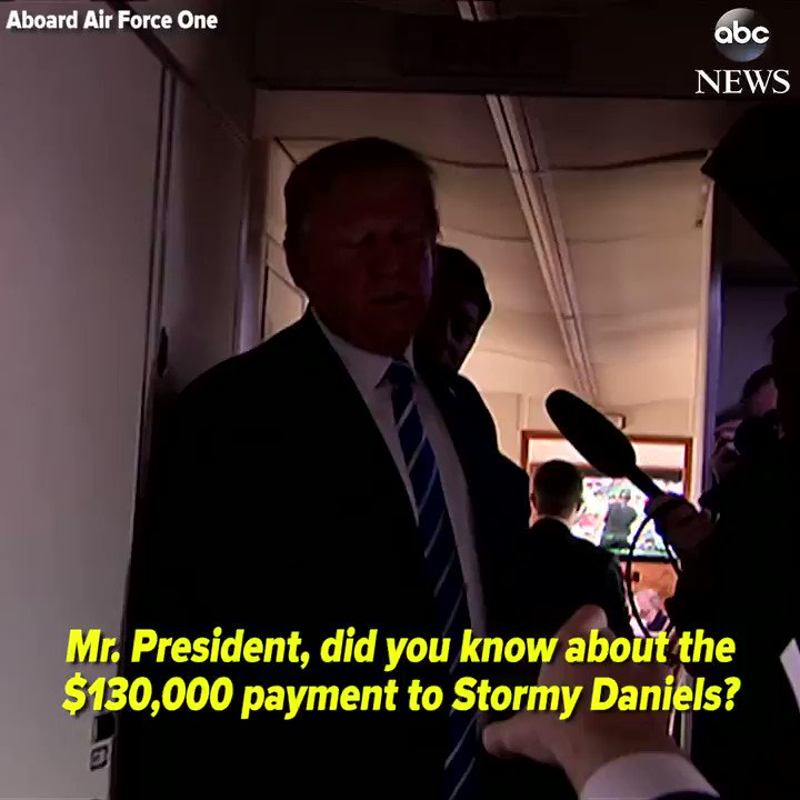 NEW: Pres. Trump tells reporters he did not know about $130,000 payment to Stormy Daniels before the 2016 election. https://abcn.ws/2HbHzDE