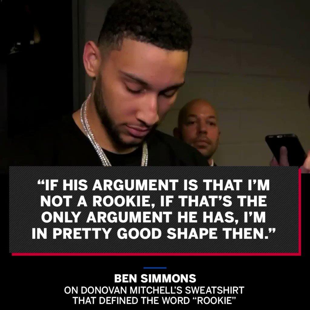 Ben Simmons isnt fazed by Donovan Mitchells rookie sweatshirt.