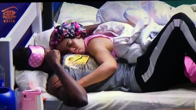 BBNaija: Finally Miracle and Nina settles beef, cuddles each other while sleeping(video)